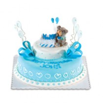 Blue Happy Bear by Red Ribbon
