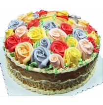 Caramel Cake Rows of Roses